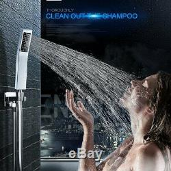 10Chrome Ultra-thin Rain Bath Tub Shower System WithLED Temperature Display Valve
