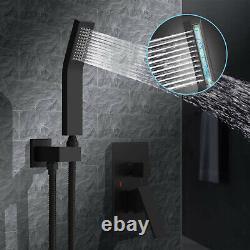 12 Ceiling Matte Black Shower Faucet System Bathroom Luxury Rain Mixing Shower