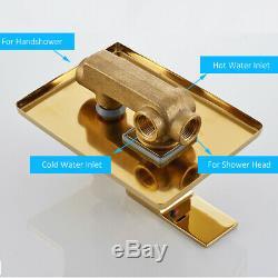 12-inch Rainfall Gold Finish Shower Faucet Set Shower Head Tub Spout Mixer Tap