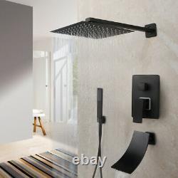 16'' Black Bathroom Shower Faucet Set Square Rain Head Hand Spray Tub Mixer Tap