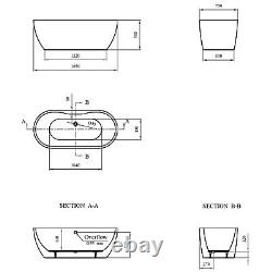 1650mm Freestanding Round Bath Double Ended White Acrylic Bathroom Tub 198 Litre