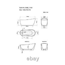 1680mm Freestanding Slipper Bath Single Ended White Acrylic Bathroom Luxury Tub