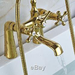 2 Handles Gold Bathroom Deck Mount Basin Tub Taps Hand Held Shower Mixer Faucet