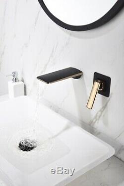 2 PCS Black Bathroom Bath Tub Waterfall Spout Taps Mixer Wall Mounted Faucets
