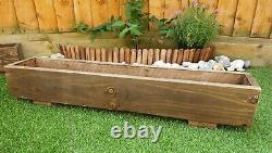 2 x Rustic Large Wooden Garden Planter, Length 100cm