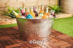 24l Galvanised Steel Oval Beer Bucket Ice Cooler Party Tub Beverage Drink Cool