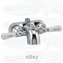 3-3/8 Heavy Duty Chrome Clawfoot Tub Add-A-Shower Faucet Ceramic Discs
