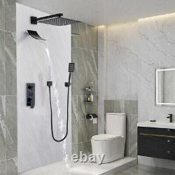 3-Function Concealed Shower System Black Tub Spout LCD Shower Faucet waterfall