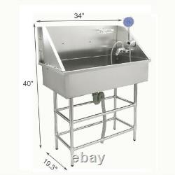 34 Pet Dog Grooming Bath Tub Station Professional Stainless Steel Wash Shower