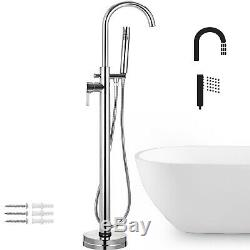 46 H Free Standing Bathtub Faucet Floor Mounted Tub Filler WithHandheld