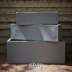 73cm Grey Fibrestone Contemporary Trough Planter/Plant Pot/Window Box/Container