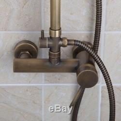 8'Wall Mount Antique Brass Bathroom Rainfall Shower Faucet Bathtub Mixer Tap Set
