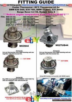 80°C Thermostat kit BMW E39 540i 535i E38 740i 735i X5 M62 Reduce temperature