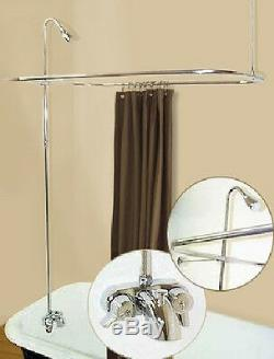 ADD-ON-SHOWER WithCURTAIN BAR FOR CLAWFOOT TUB ON LEGS WithHEAVY METAL FAUCET