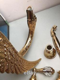 AMAZING! Gold Swan Bath Tub Shower Hardware Kit Crystal Handle Phylrich Brass Go