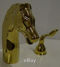 AllBrass Horse Tub Faucet Bathroom Roman Widespread PVD Gold Brass Basin Animal