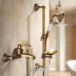 Antique Brass Bath Tub Mixer Valve Faucet Tap Bathroom Hand Held Shower Sets