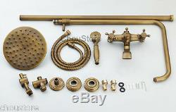 Antique Brass Bathroom 8 Rain Shower Tap Shower Mixer Faucet Valve WithTub Spout