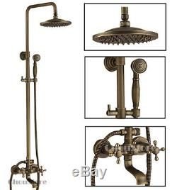 Antique Brass Bathroom Rain Shower Set Faucet with Tub Spout Wall Mounted Mixer