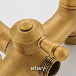 Antique Brass Bathroom Tap Basin Sink Wall Mount Waterfall Bathtub Mixer Faucet