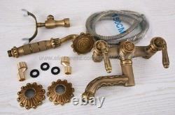 Antique Brass Clawfoot Bathtub Tub Faucet with Hand Shower Spray Wall Mount Kna222