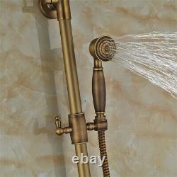Antique Brass Shower Taps 20cm Rainfall Shower System Set Bathtub Mixer Tap UK
