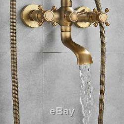 Antique Brass Vintage Clawfoot Bath Tub Faucet with Handshower Wall Mounted