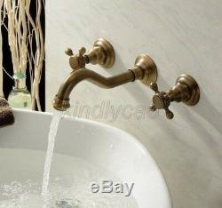 Antique Brass Wall Mounted Bathroom Basin Sink Faucet Bath Tub Mixer Tap Ktf050