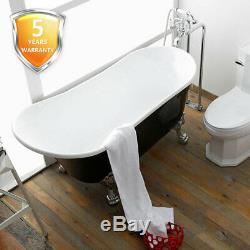 Antique Clawfoot Bathtub Black 63 Freestanding Acrylic Slipper Soaking Tub cUPC