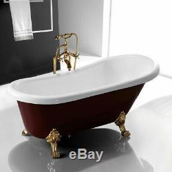 Antique Clawfoot Bathtub Red 67 Freestanding Slipper Soaking Acrylic Tub cUPC