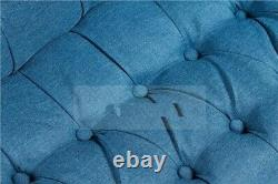 Antique Dark Blue Tub Chair Sofa Lined Polyester Fabric Lounge Bedroom Armchair