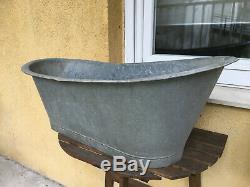 Antique Vintage Galvanized Kid Cowboy Bathtub Metal Tin Old West Wash Tub Bath