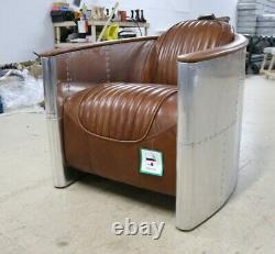 Aviator Pilot Tub Club Chair Industrial Aluminium Vintage Tan Leather Art Deco