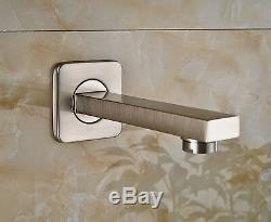 Bath 3-way Mixer 12 Rainfall Shower Tub Spout with Hand Sprayer Brushed Nickel