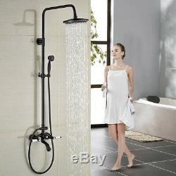 Bath 8''Rain Shower Faucet Tub Mixer Tap 2 Handles Oil Rubbed Bronze Hand Shower