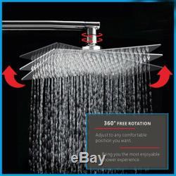 Bath Shower Faucet Set Tub Spout Bathroom and 10 inch Square Rain Shower Head