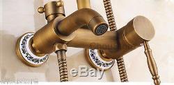 Bathroom 8 Rain Shower Faucet Tap Antique Shower Mixer Valve Set With Tub Spout