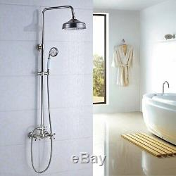 Bathroom Brushed Nickel Shower Faucet Bathtub Mixer Dual Handles Wall Mounted