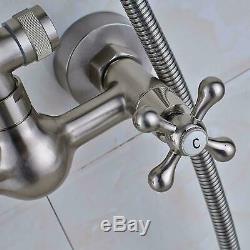 Bathroom Brushed Nickel Shower Faucet Bathtub Mixer Dual Handles Wall Mounted
