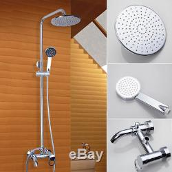 Bathroom Chrome 8 Round Shower Faucet Set Wall Mounted Mixer Tap WithTub Spout