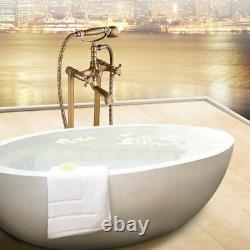 Bathroom Floor Stand Mounted Bathtub Tap Free Standing Bath Shower Mixer Faucet