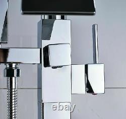 Bathroom Freestanding Mono Bath Tub Filler Shower Mixer Tap Hand SHower Chrome