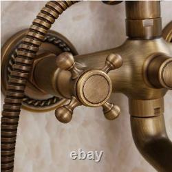 Bathroom Shower Faucet Set Antique Brass Rainfall Head&Handheld Shower Mixer Tap
