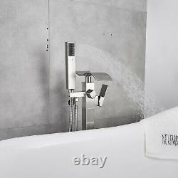 Bathtub Faucet Brushed Nickel Floor Mounted Free Standing Tub Filler WithHandheld