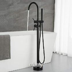 Bathtub Faucet Matte Black Free Standing Floor Mount Tub Filler WithHandheld Mixer