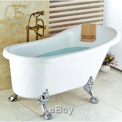 Bathtub Mixer Tap Faucet Antique Brass Floor Mounted Free Standing WithHand Shower