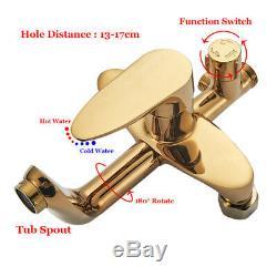Bathtub Tap Shower Faucet Set Gold 8 Ultra-thin Rain Head Wall Mount Bathroom