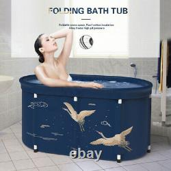 Bathtub Water Tub Folding Indoor Outdoor Portable Adult Spa Bath Bucket Blue