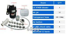 Bathtub system, air blower and jet manifold, hose for spa hot tub and whirlpool