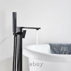 Black Floor Mounted Bathtub Faucet Bathroom Free Standing Mixer Tap Filler Spout